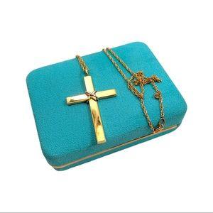 NOS Vintage 12k Gold Filled Cross Pendant Necklace